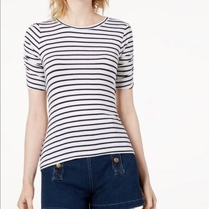 MAISON JULES Striped Ruched Sleeve T-Shirt S, L